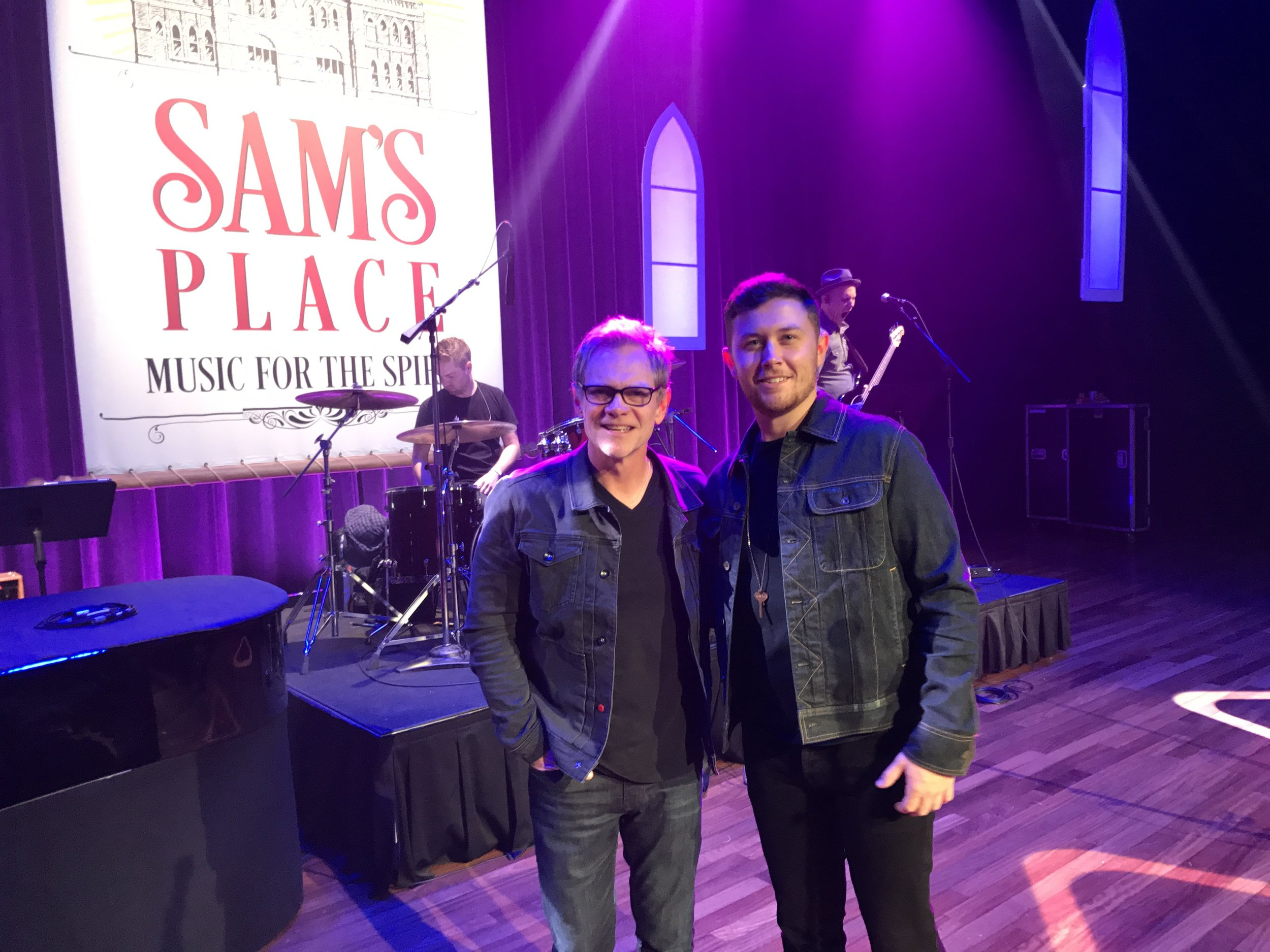 "(left to right): Steven Curtis Chapman and Scotty McCreery on the Ryman Auditorium stage, just after rehearsing their duet performance of ""His Eyes"" for ""Sam's Place: Music for the Spirit.""   (Photo Credit: Scott Stem)"