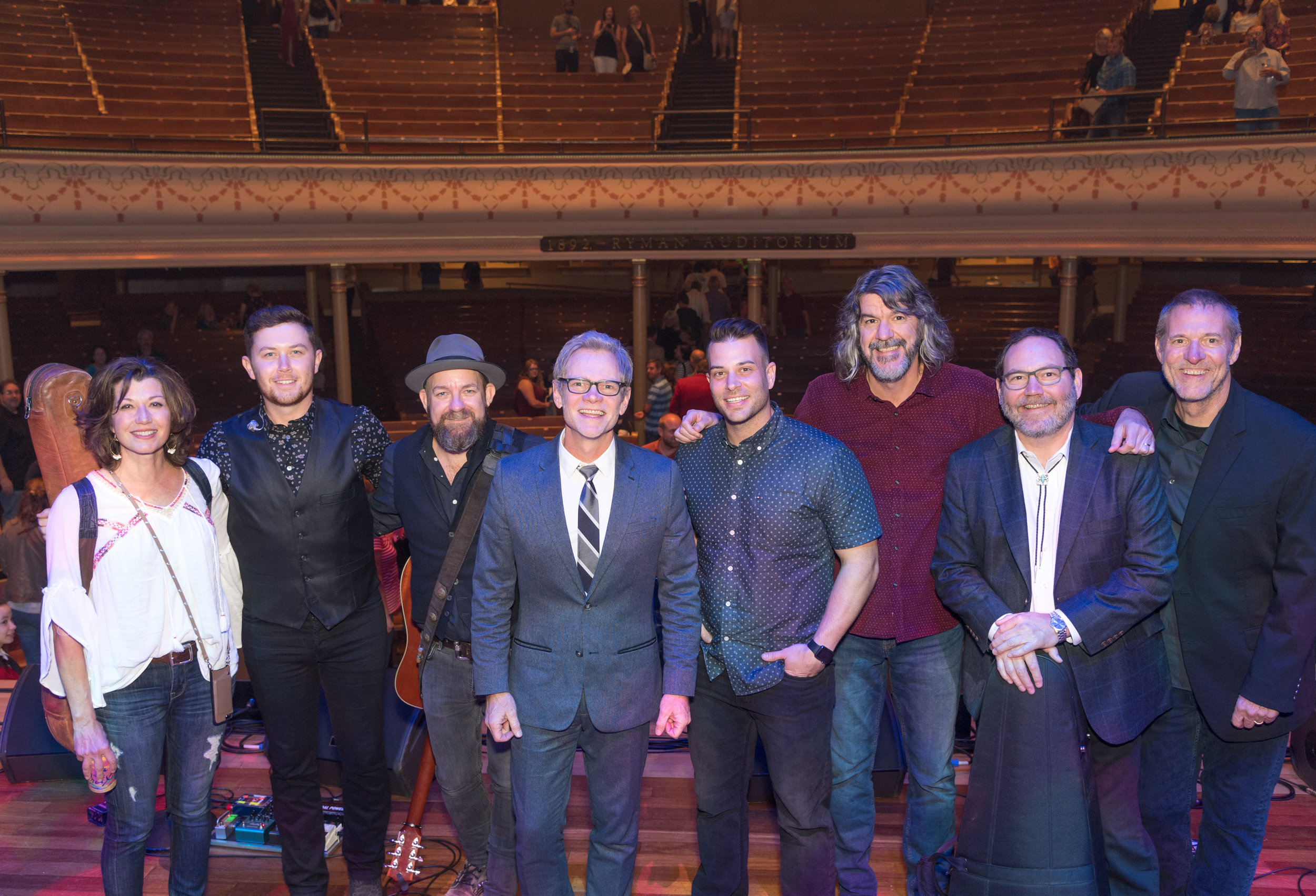 (left to right): Amy Grant, Scotty McCreery, Kristian Bush, Steven Curtis Chapman, Jonny Diaz, and The SteelDrivers' Brent Truitt, Richard Bailey and Mike Fleming.  (Photo Credit: Steve Lowry for the Ryman Auditorum).