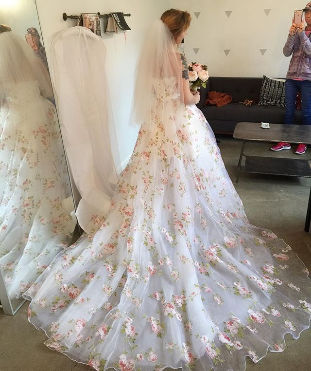Photo from earlier today's fitting!!🥰 The bride looked absolutely stunning and perfect in this floral organza dress. A little surprise🤰🏼 during the process 😉 so we decided on an adjustable lace up back inside of zipper. 👌🏻 Congrats again!! 🥳 #customweddingdress #shesaidyestothedress #perfectweddingdress #floralweddingdress #originaldesign #weddinginspiration #perfectlook #nycbridal