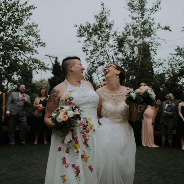 Can't believe it's been a year since this happy wedding, when I did BOTH custom wedding dresses for the brides! 🤗  and what better time to share the love than #pridemonth 🌈♥️ Photos 📷 by @ashleyletourneauphoto  #loveislove #lgbtwedding #lgbtweddingphotographer #loveisforeveryone #customweddingdress #uniqueweddingdress #weddinginspiration #love #happy