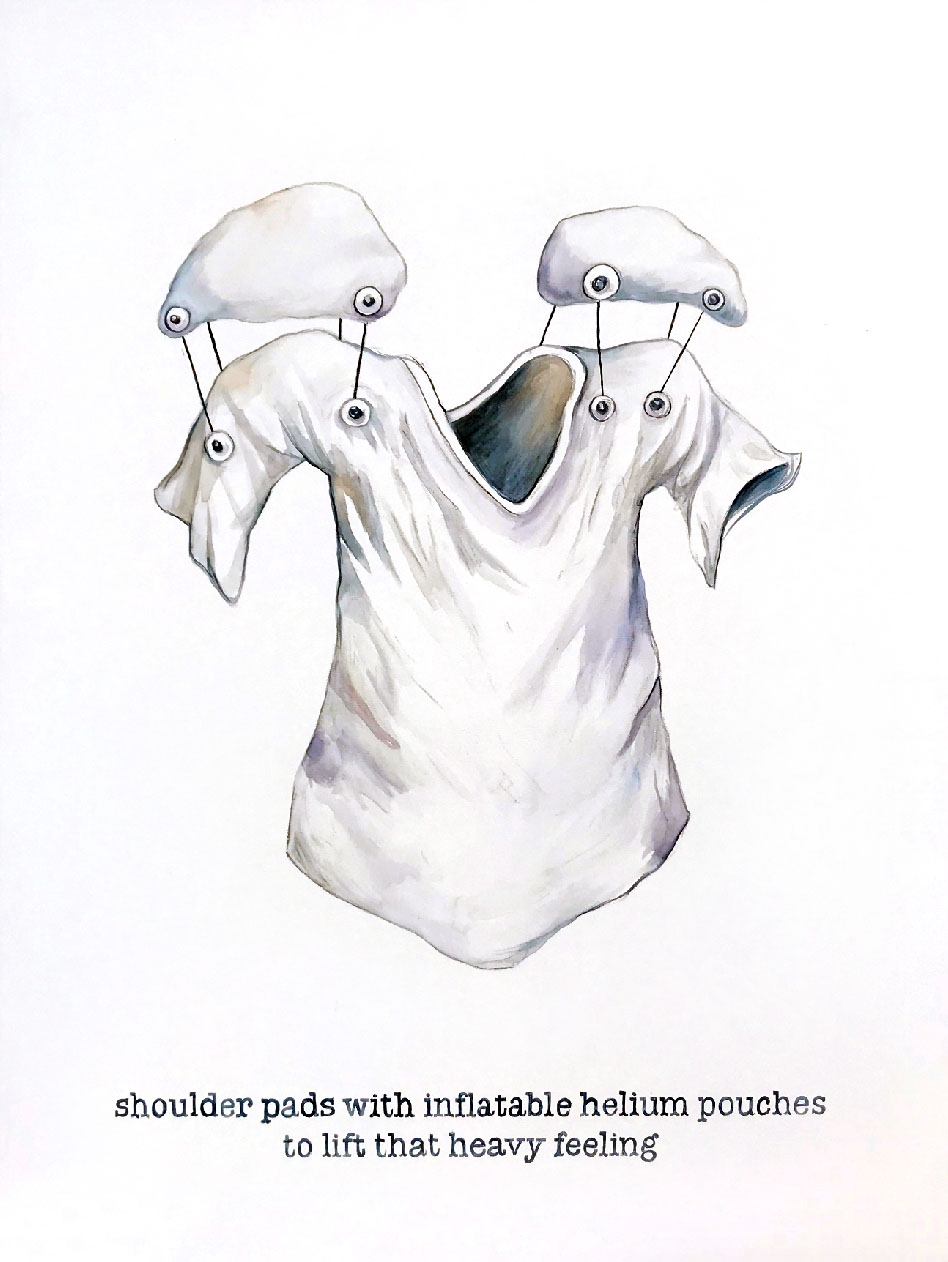 "Helium-inflated Shoulder Pads, watercolor on canvas, 48 x 36"", 2018"