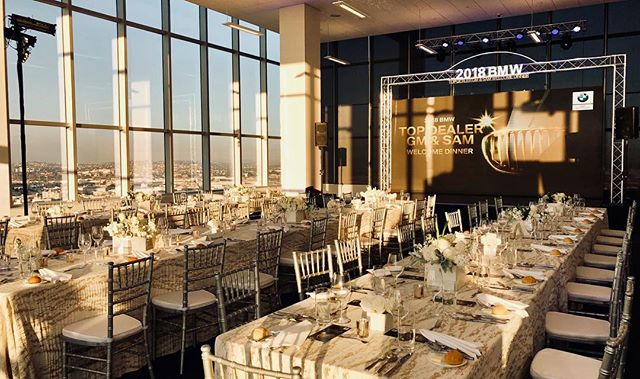 #tbt to last month when we did the sound, lighting, and trussing for the 2018 BMW Top Dealer & SAM Welcome Dinner overlooking Downtown LA✨