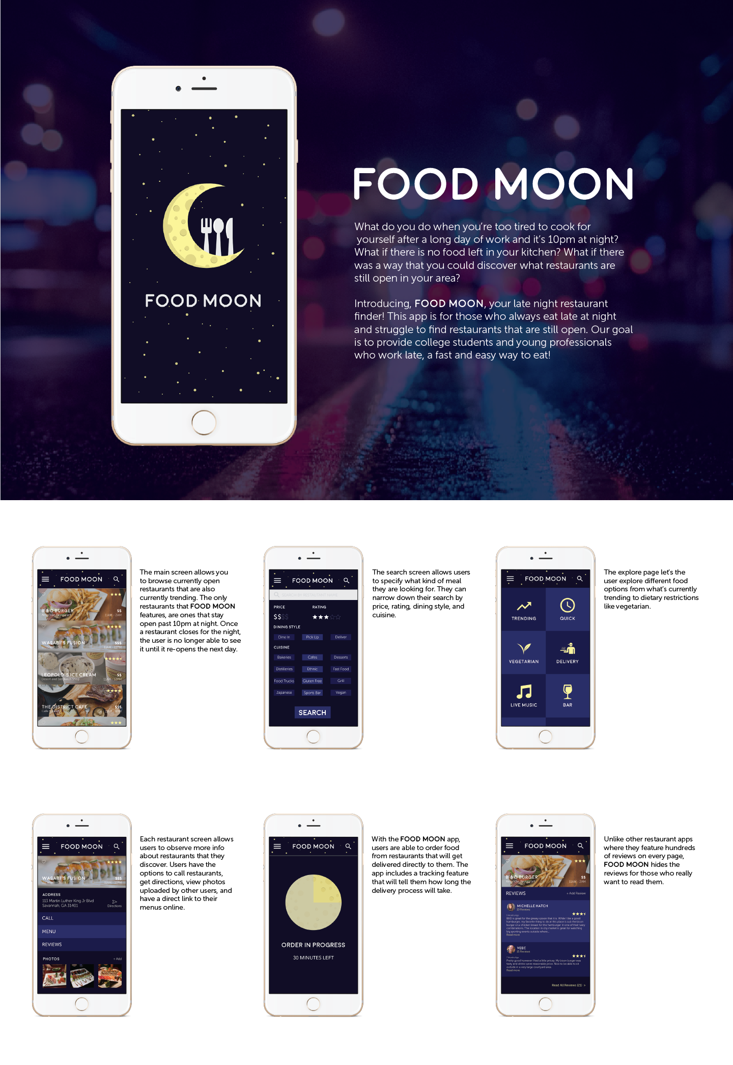 Food Moon app designed by Taylor Carney, Dado Evia, Michael Kerniss, and Karlie Chung