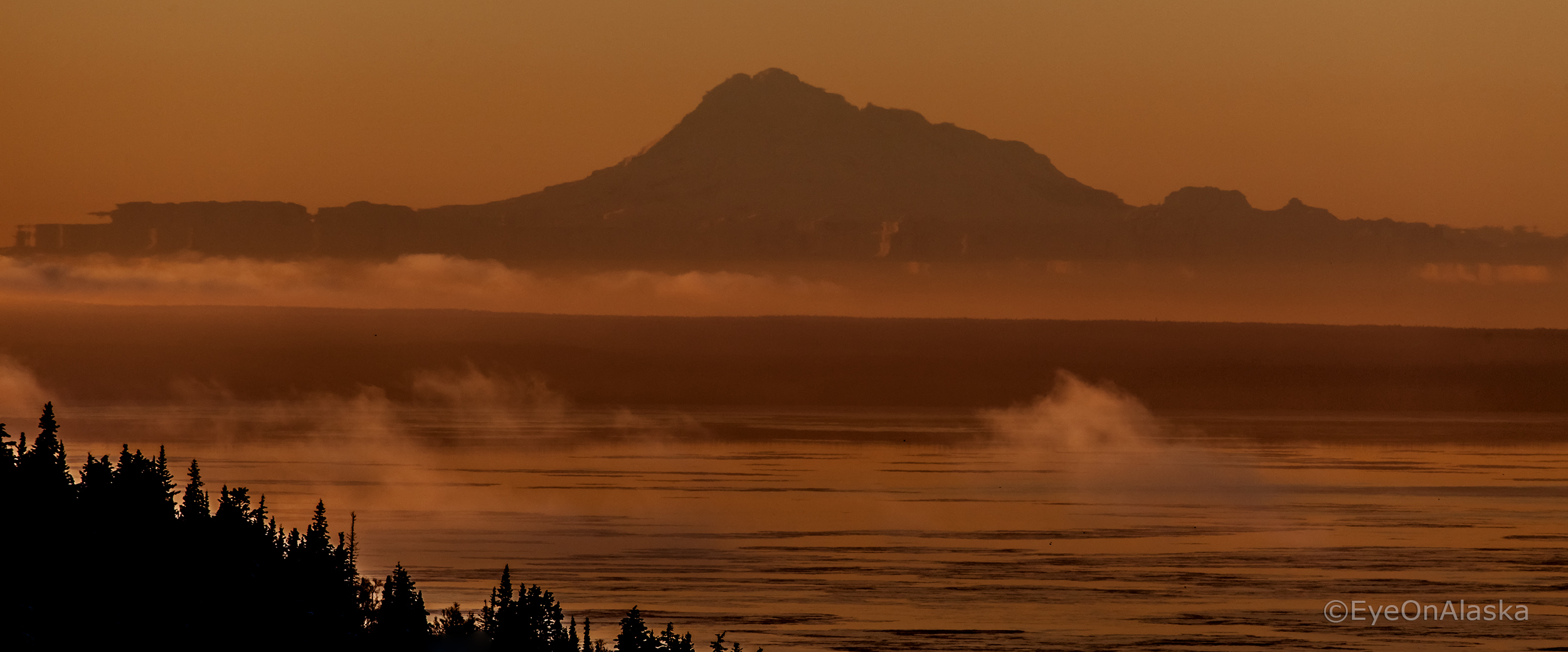 Mt. Redoubt volcano from Anchorage.
