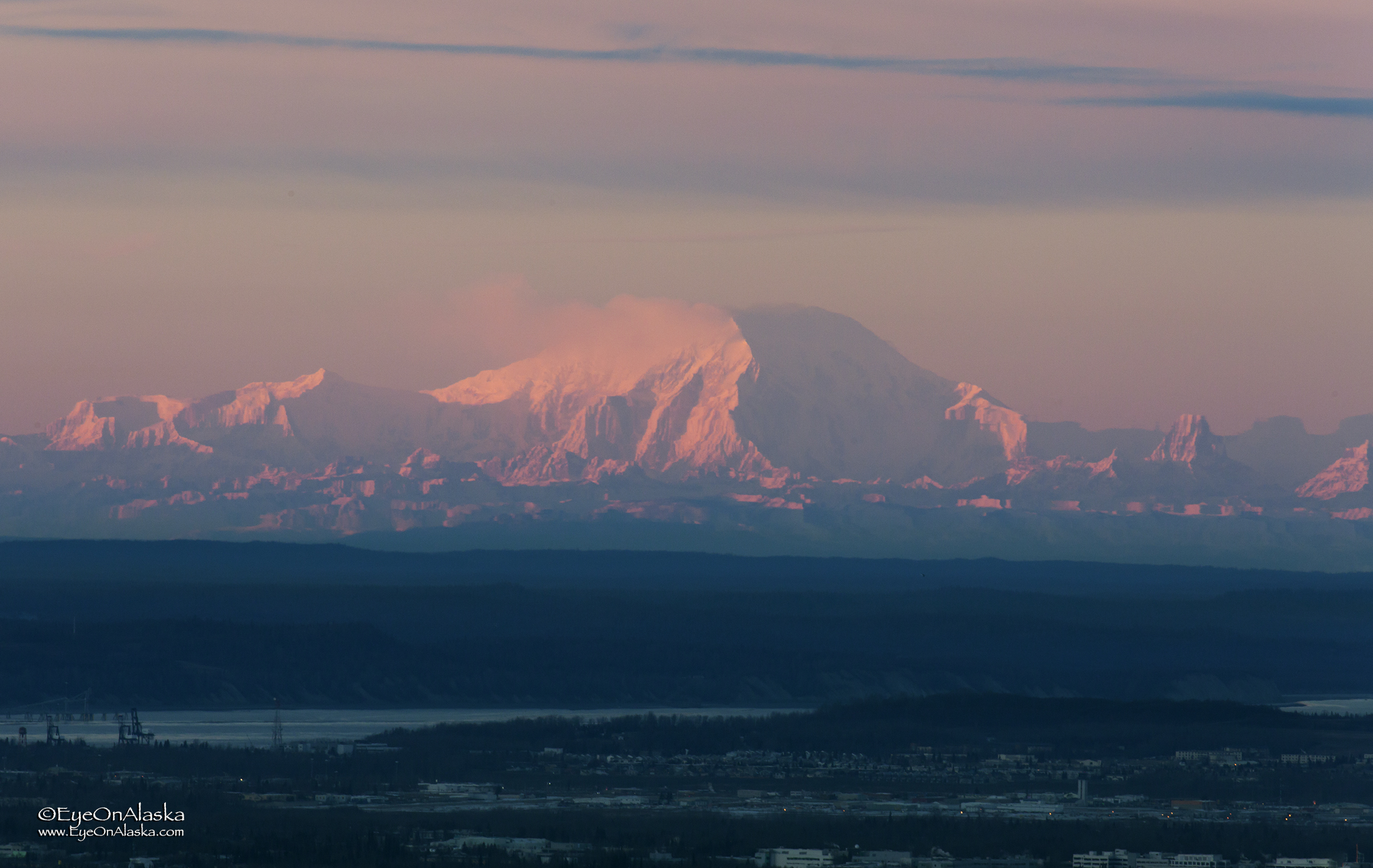 Mount Foraker on the horizon at sunset.