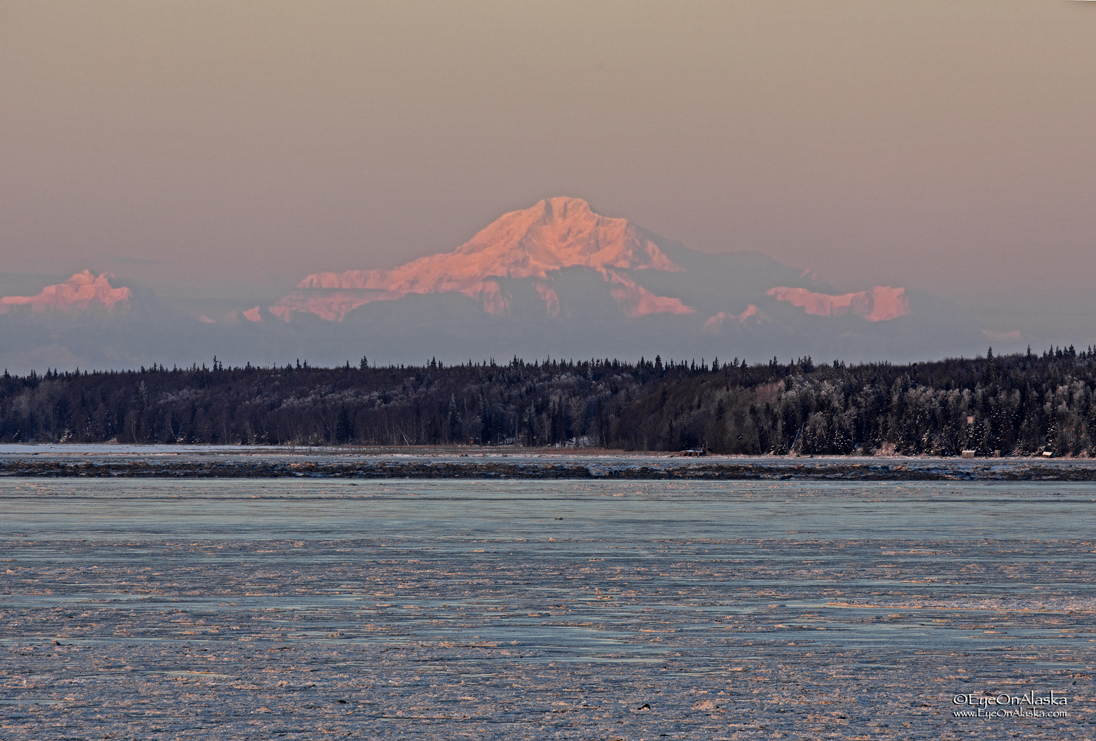 Denali from sea-level. The view from Earthquake Park near downtown Anchorage.