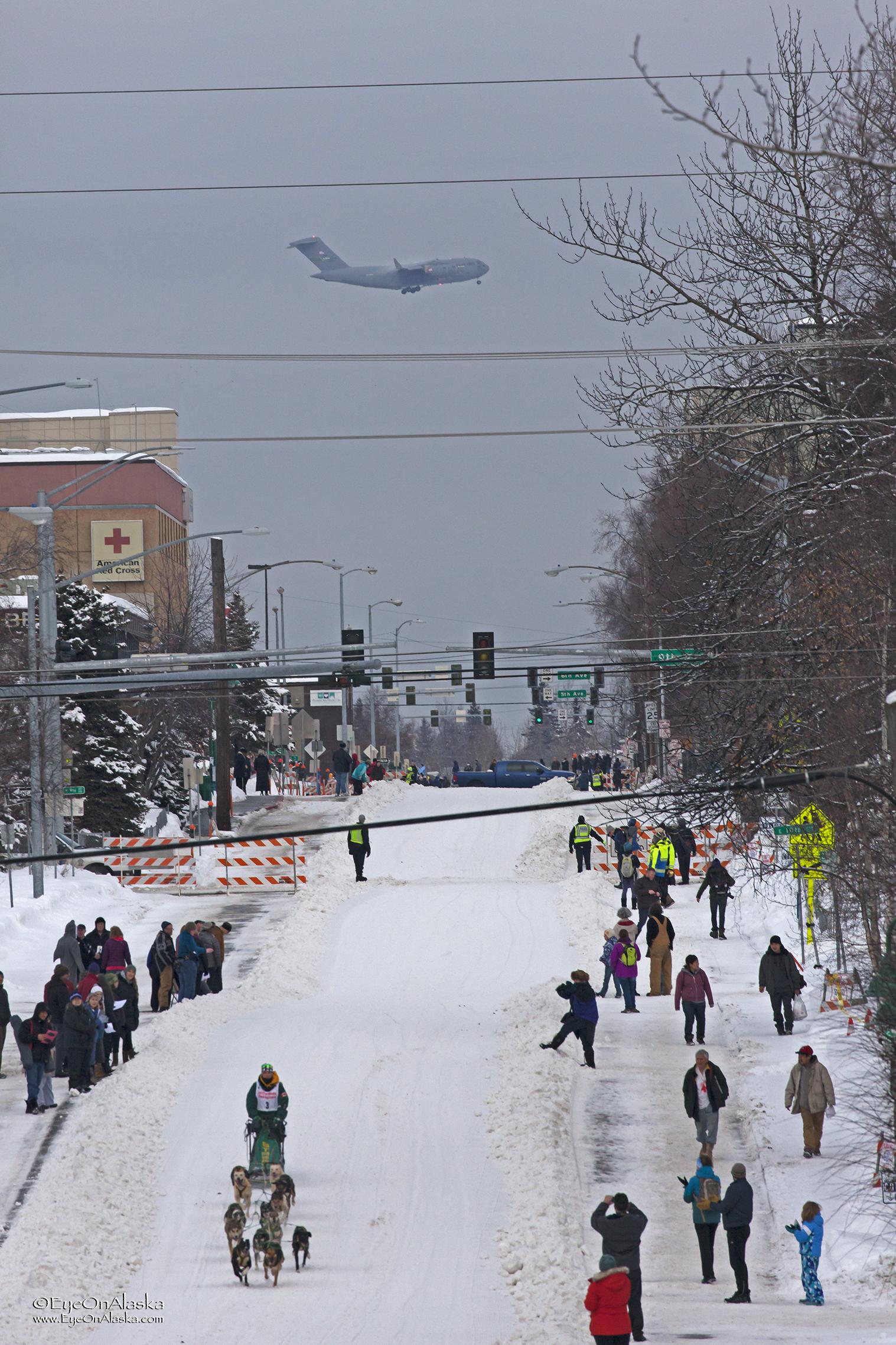 C-17 landing at Elmendorf AFB.