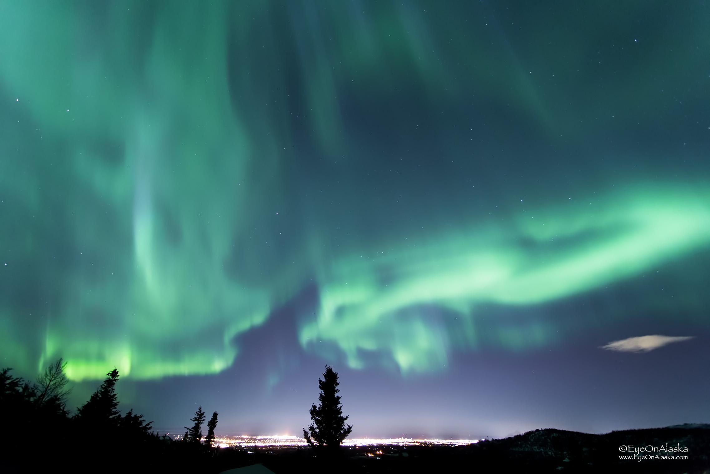 A blanket of aurora over Anchorage.
