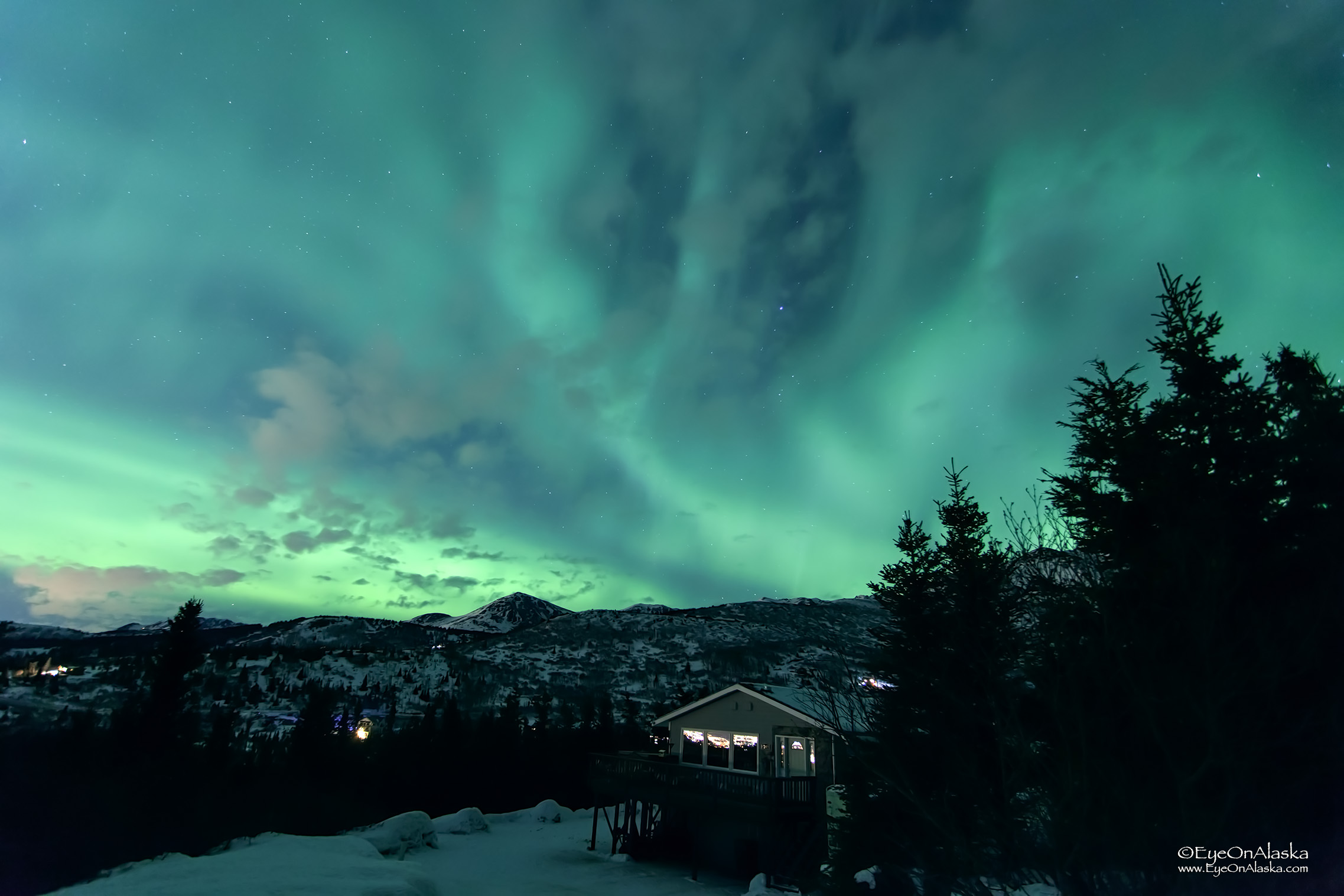 Our place bathed in aurora. And you wonder why we love living here so much!