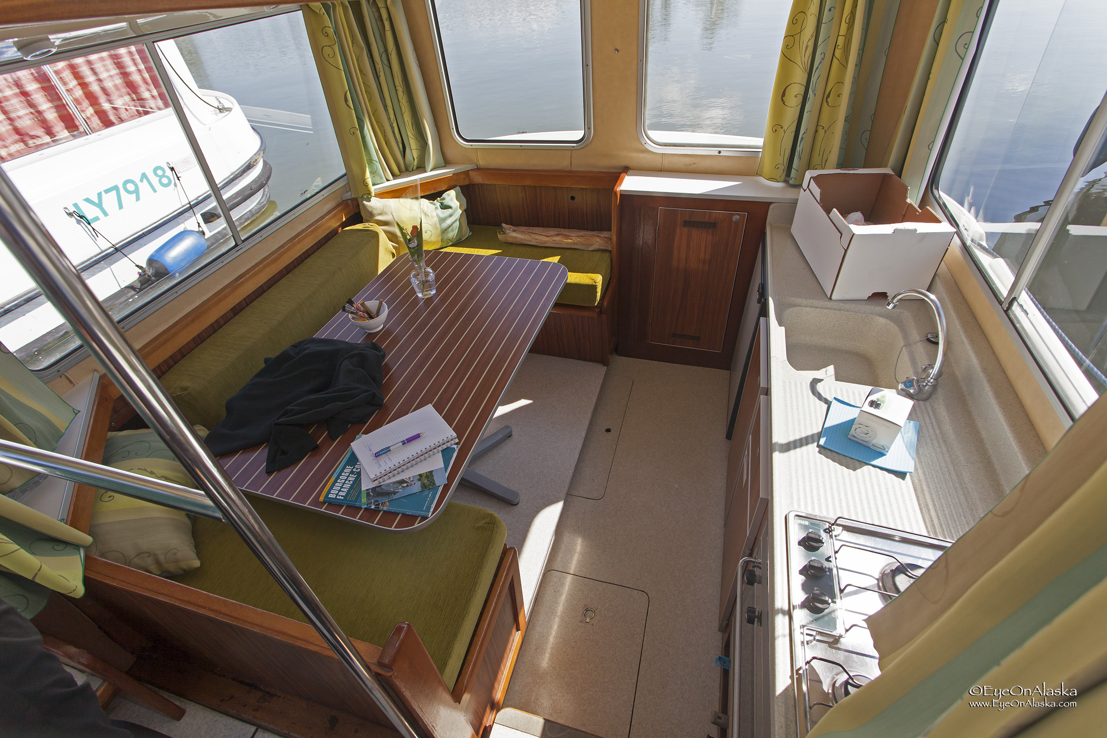 The dining area and kitchen on our little canal boat.  It's just about the same size as our motorhome.