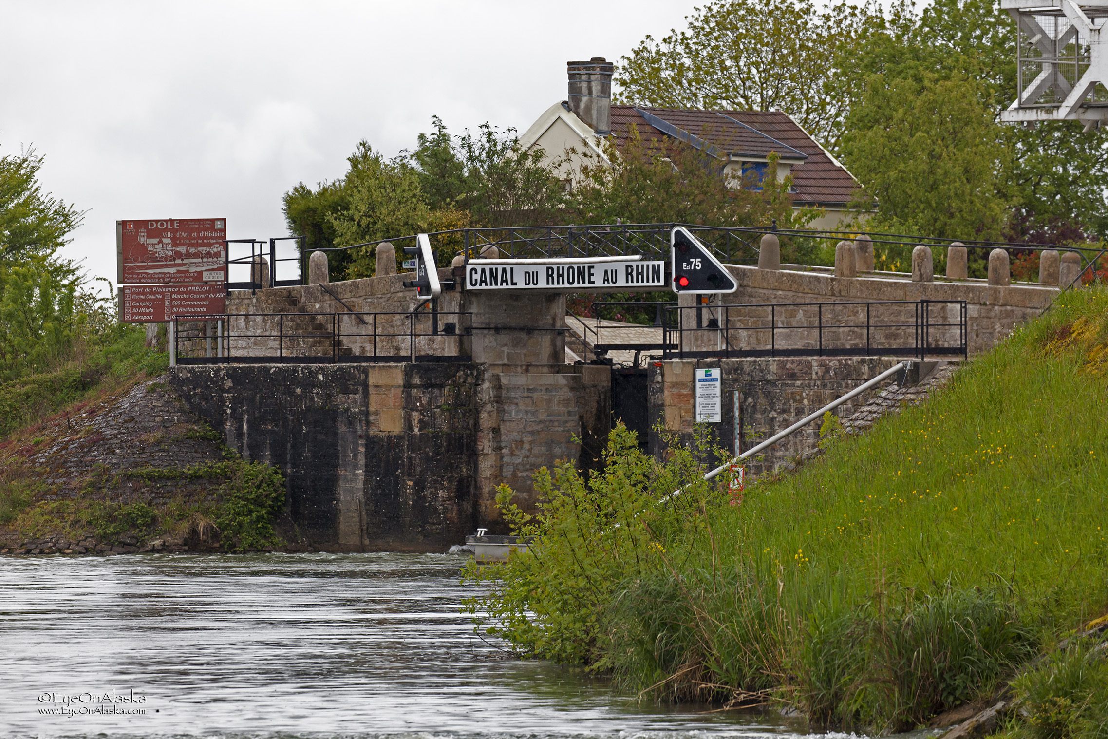 Here's the big turn onto the Canal du Rhône au Rhin. We have to stop at this first lock to pick up an electronic lock control which we'll use for the next 20 or so locks. The guy running the lock today was really helpful.