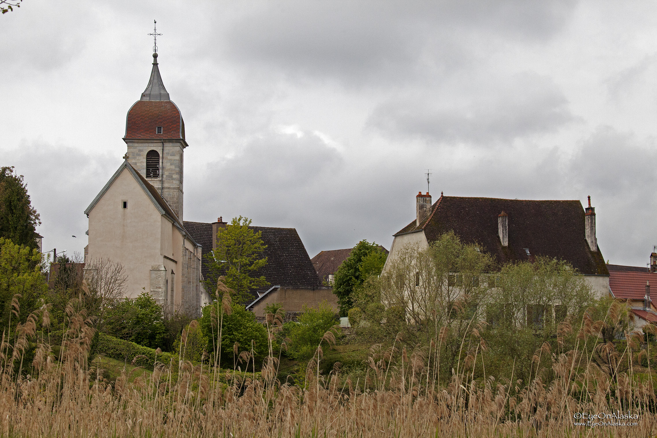 The village of Baverans from the canal.  A typical Franche-Comté bell tower on the church.  The varnished tile domes are particular to this region.