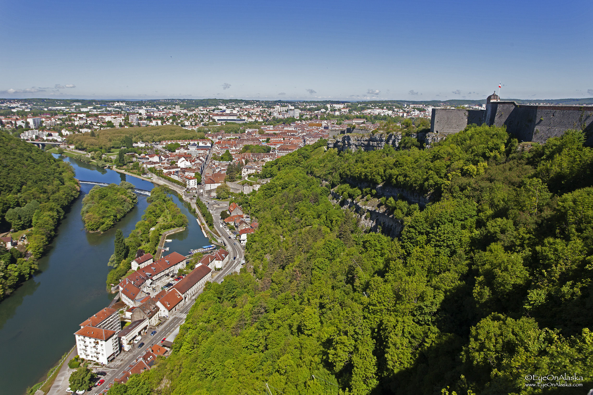 The other side of Besançon from the parapets.
