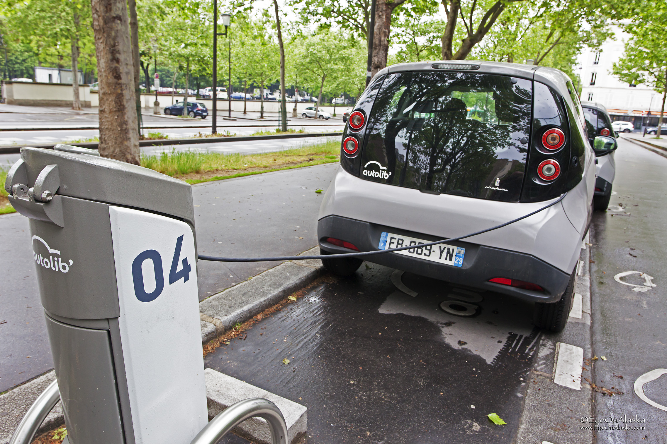 Electric car plug-ins all over the city.