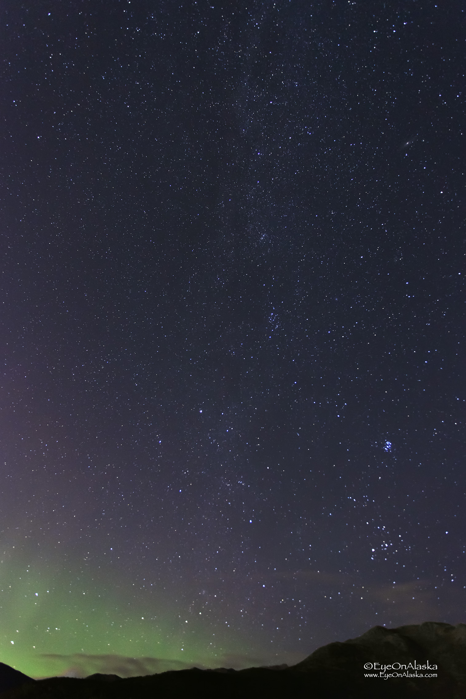 Milky Way rising above the Chugach Mountains.