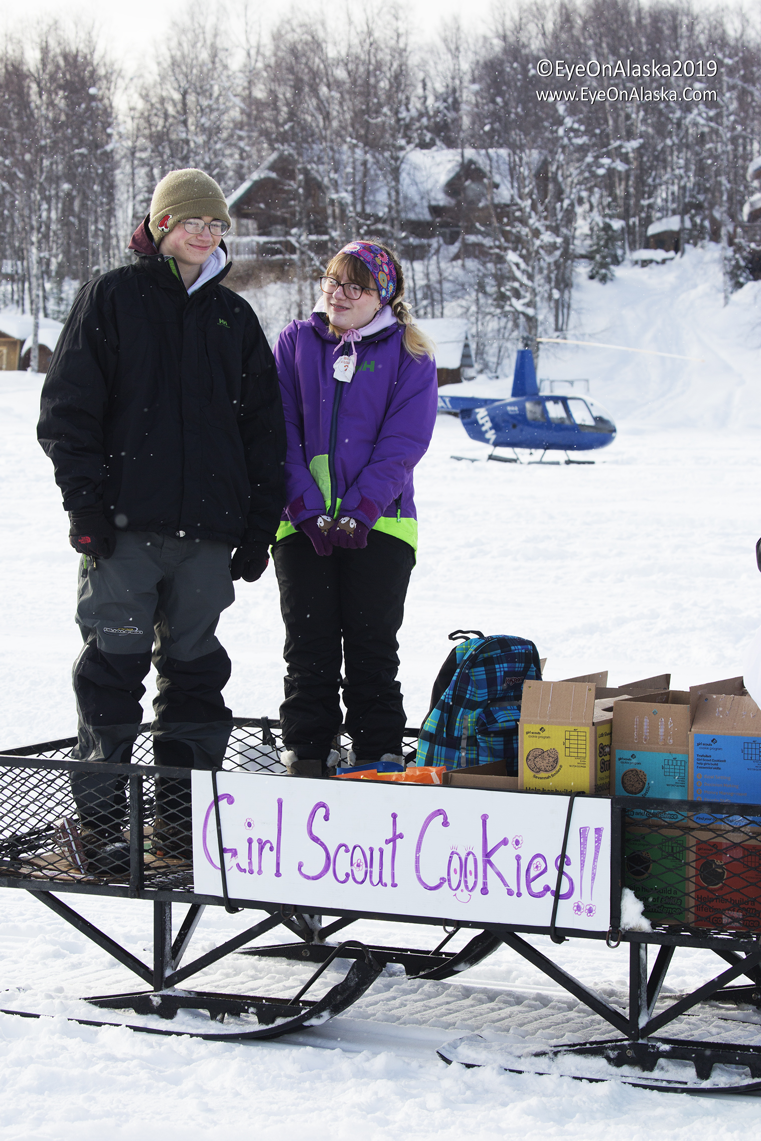 Sheer brilliance.  These kids ran up and down the lake on their snowmachine selling Girl Scout cookies.  I'm sure they sold out.