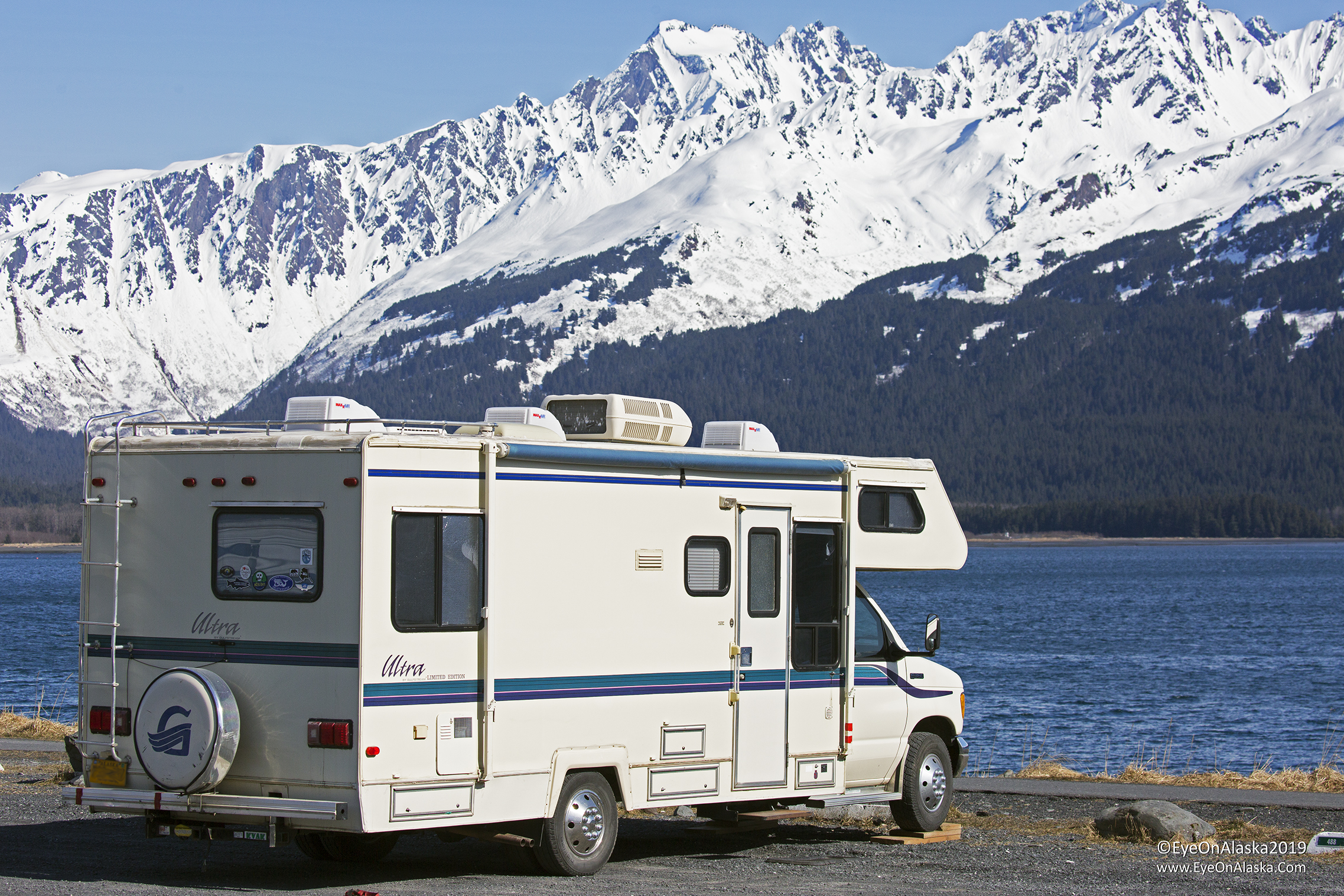 We love camping in Seward before and after the tourist season.  During the summer, this is wall to wall campers parked right next to each other, which we avoid like the plague.