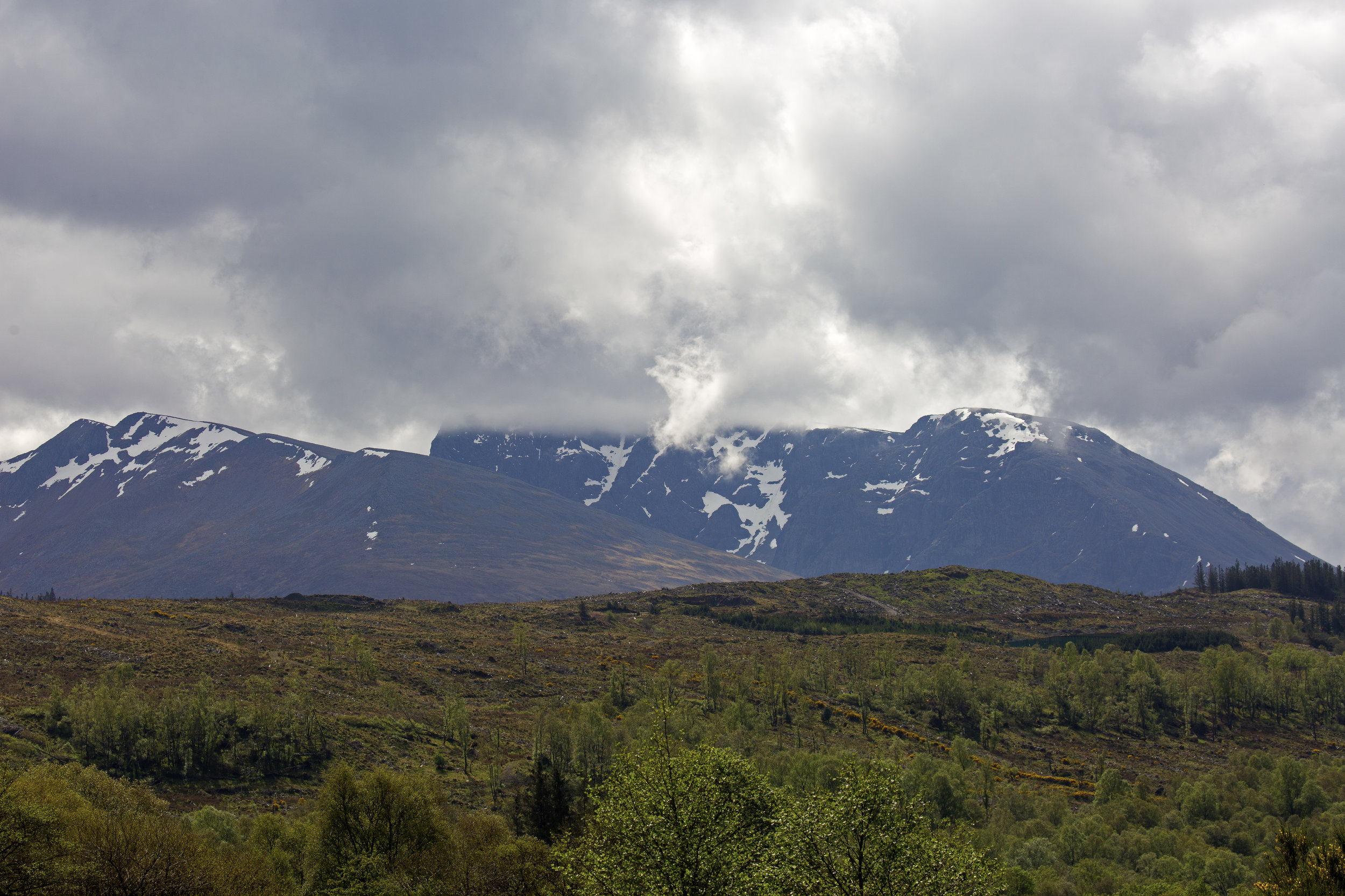 Our first glimpse of Ben Nevis, the highest mountain in Britain.
