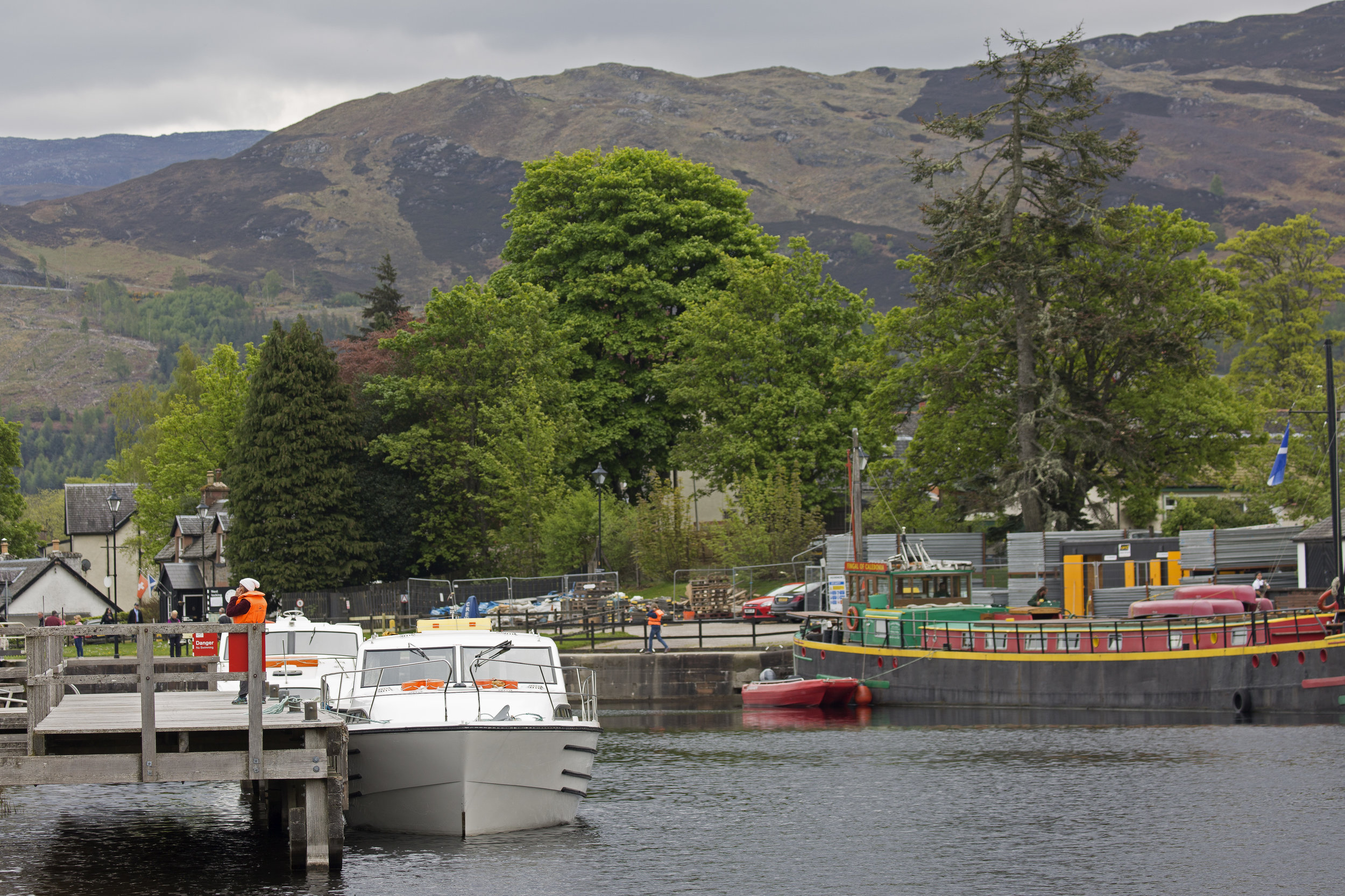 We're back in Fort Augustus for the night, and our timing is perfect.  We get to make our way down the locks in the last group of the night.