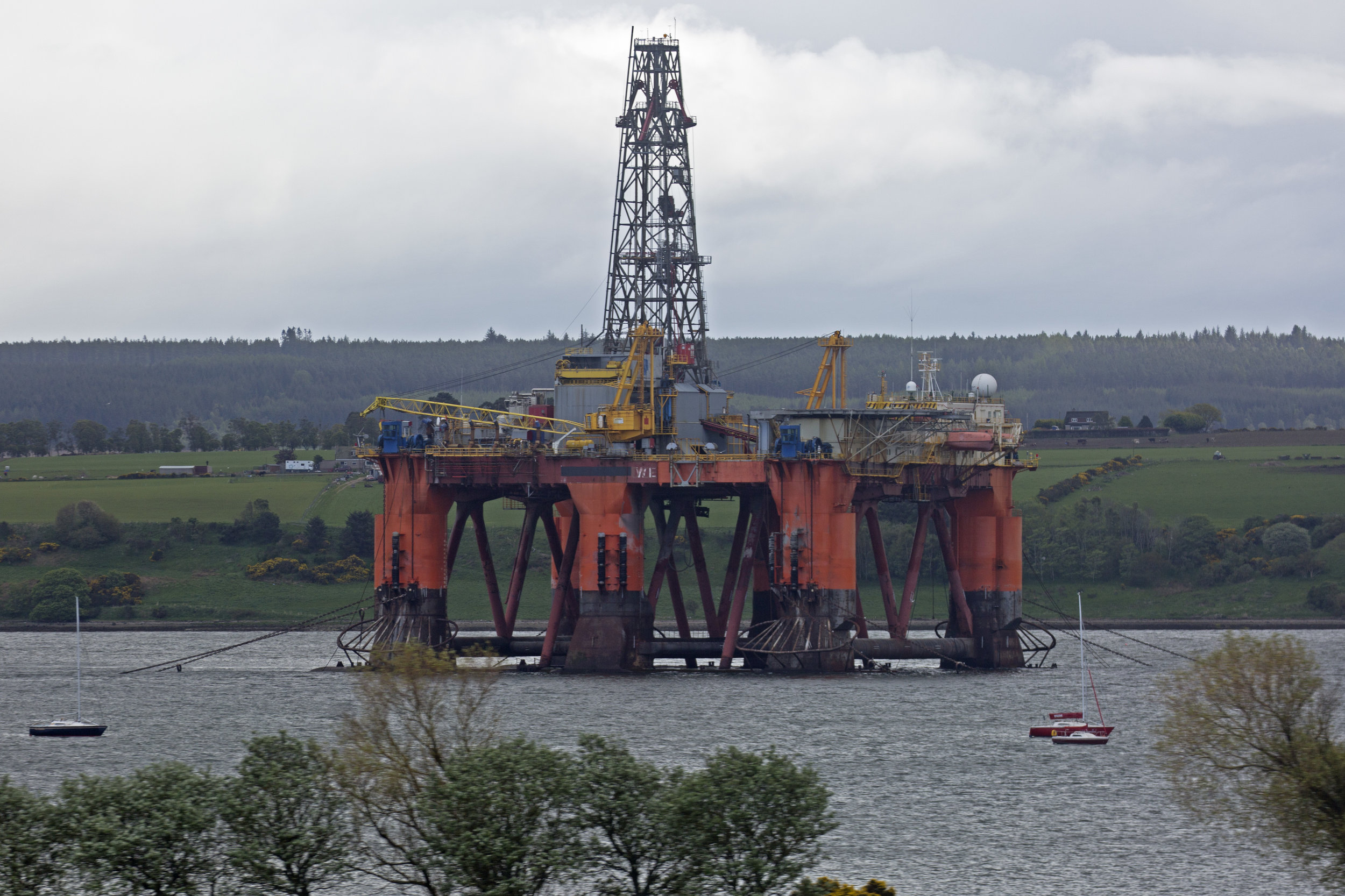On the train headed north to Thurso.  We're traveling along the shores of Cromarty Firth.  Lots of North Sea oil rigs here for service.