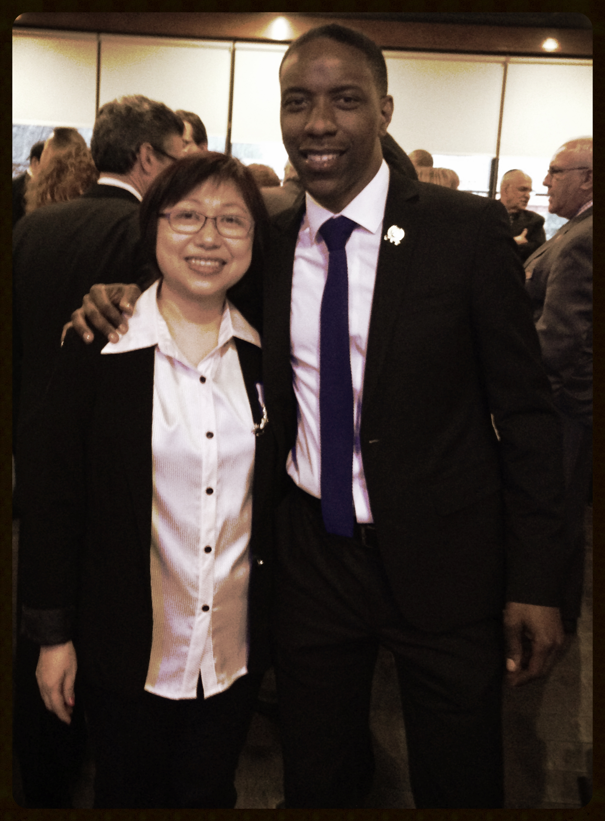 Wei and Jamel Holley at the Roselle Chamber of Commerce at Wei's Buffet in 2014