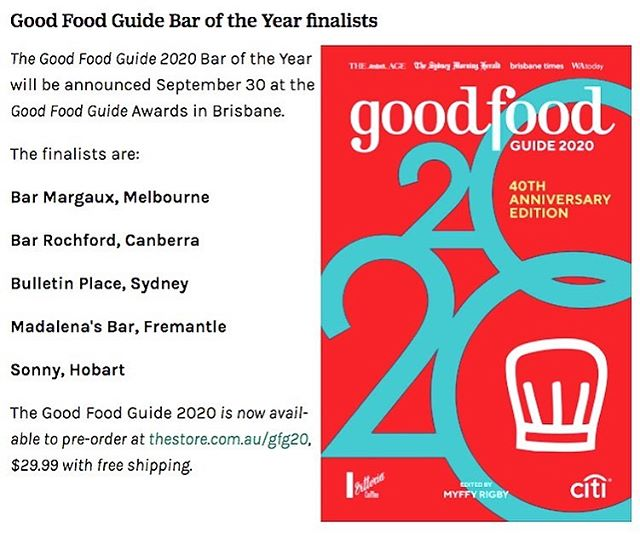 For our third year in, we've definitely hit a stride in 2019. Working the shop this week has been easy since seeing this news on Tuesday morning. Wow... thanks @goodfoodau for recognising us in the freezing capital. We're super humbled to be among such stellar company, can't wait to meet all the other bars in Brisbane! Massive congrats to the BR team for pushing hard and keeping things consistent in this crazy place. On the swirl... ☝️☝️☝️ #bossaction #BR #finetimes