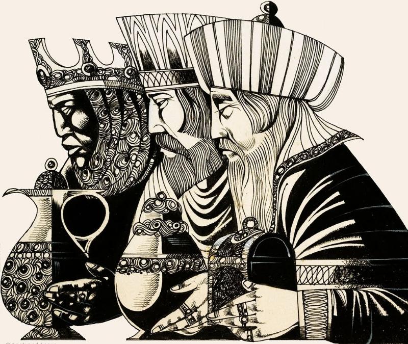 Three Kings Drawing by Richard Hook