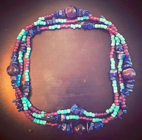 Jupiterian Circlet of Hismael , in lapis lazuli, amethyst, and glass.