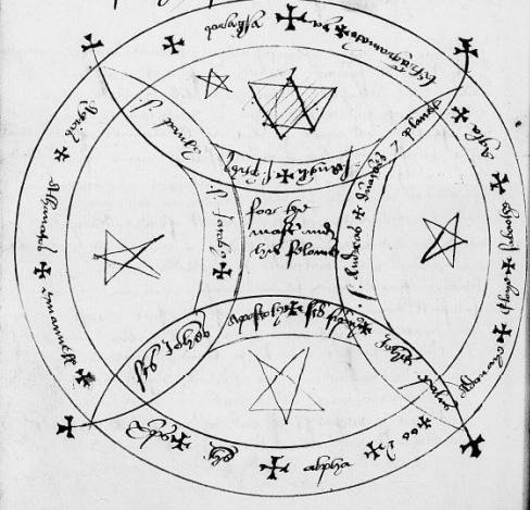 Circle design in  The Book of the Dannel  [MS Sloane 3853, f. 184v]