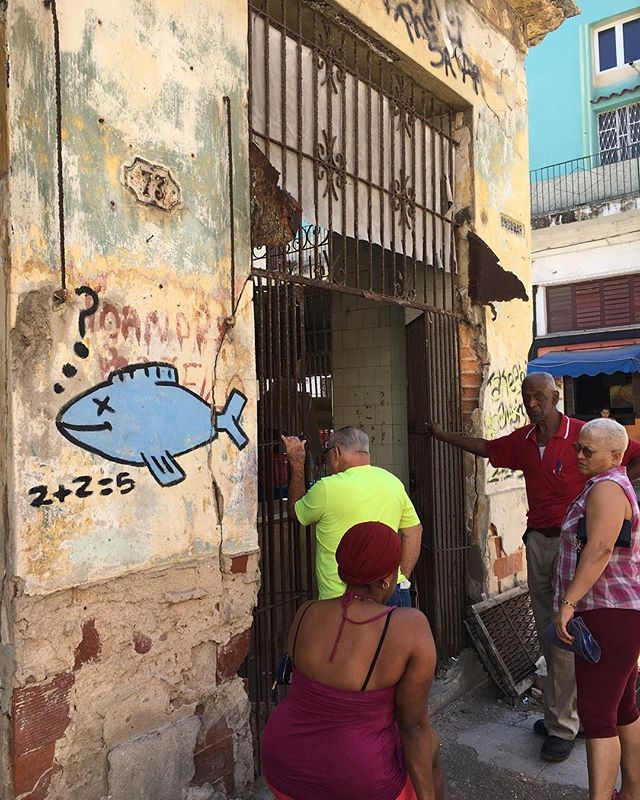 2 + 2 = 5?  This street art addresses food rationing and shortages amongst Cubans. Street art that makes you think and sends a message is all over Cuba, and we want you to experience it! • • • #streetart #havana #cuba #art #travel #photography #cubanartist #graffiti #think #change