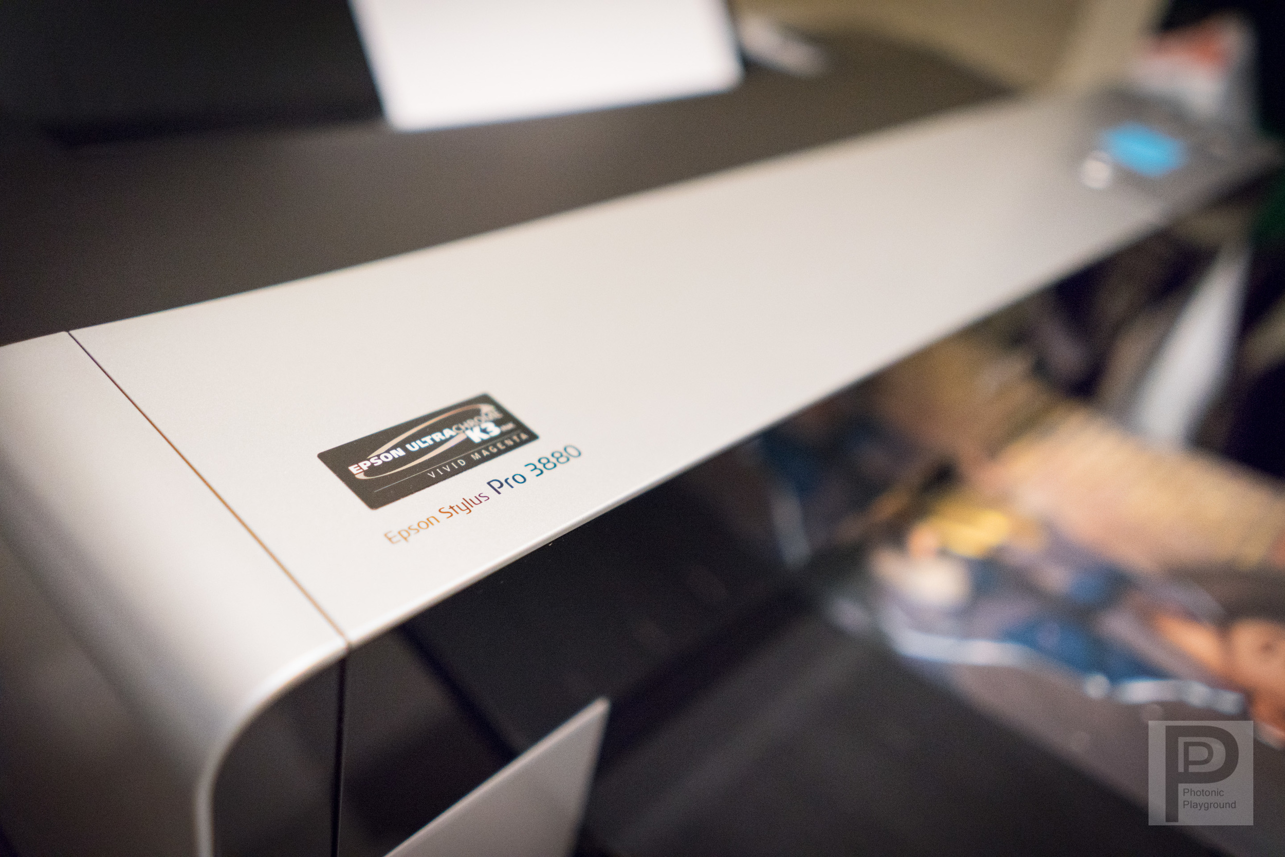 "This is our other gallery fine art printers, the Epson Stylus Pro 3880, capable of borderless prints up to 17"" in width."