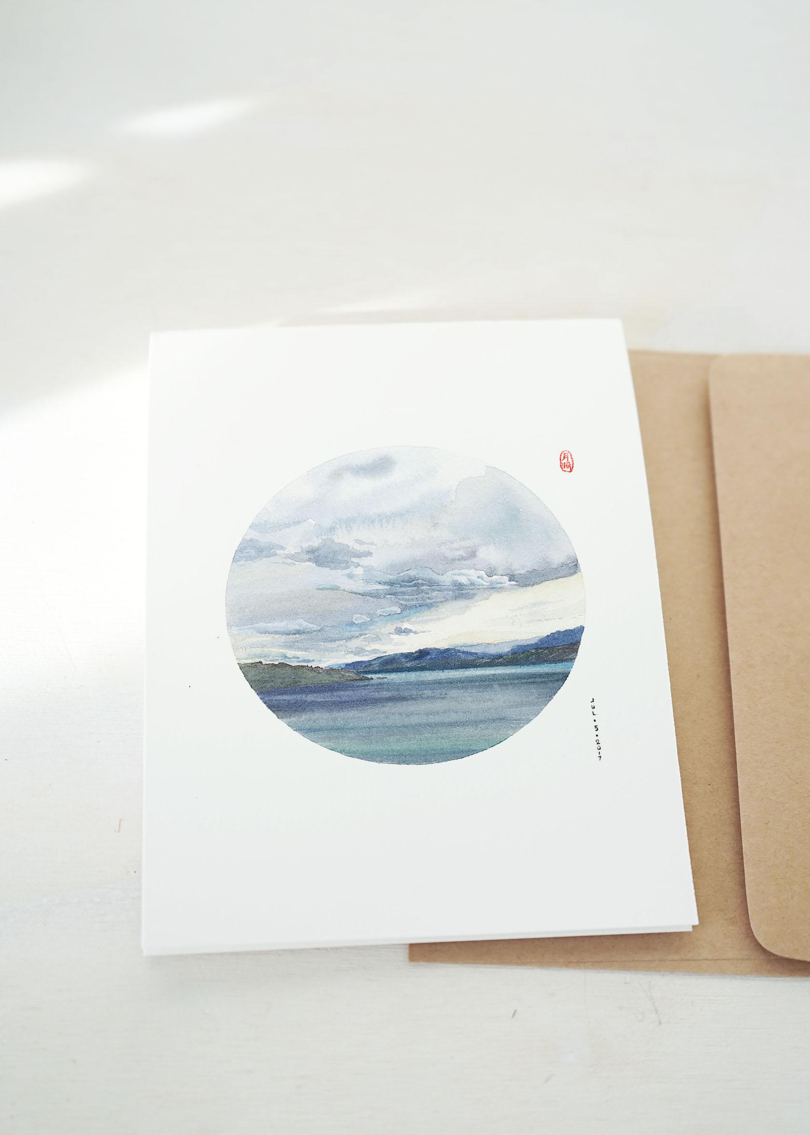 Okanagan lake watercolor greeting card by WANRU KEMP 4249s.jpg