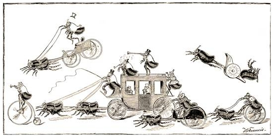 "A  flea circus : ""The Go-As-You-Please Race, as seen through a Magnifying Glass"", from  St. Nicholas Magazine , USA, 1886"