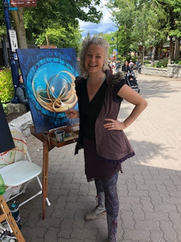 Live painting in Whistler Village for Arts Whistler. Summer 2018.