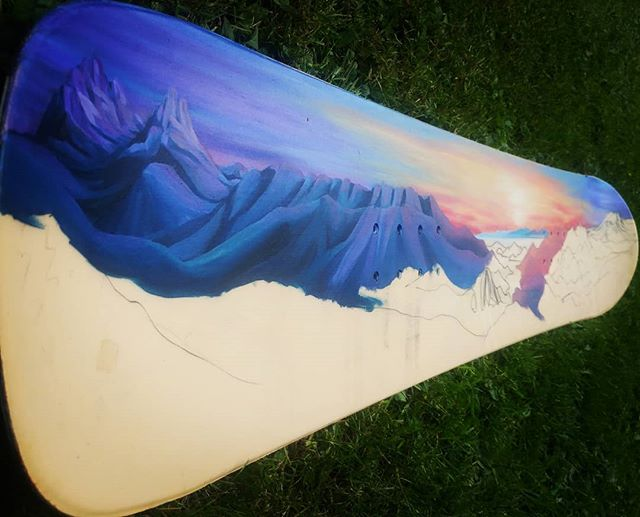 Progress... Howe Sound taking shape on my old snowboard. Stoked on this commission! . . . . . . #seatosky #whistler #blackcomb #artist  #whistlerblackcomb #seatosky #landscapepainting #abstractlandscape #rainbow #color #art #mountainlife #mountainlove #mountainculture #onlyinwhistler #whistlerart #backcountry #newpainting #dawn #sunset #sunrise #nature #nature