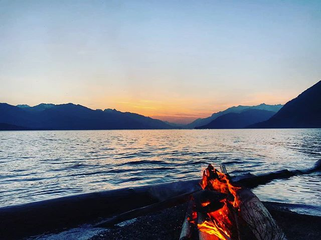 Happiness...a campfire, good friends and a gorgeous sunset. TGIS(ummer).