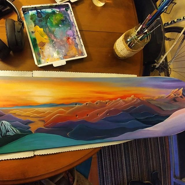Snowboard commission - getting there! Now the fun part: thr details, subtle play of light and shadow, refining colour and tone, layering thin, translucent coats of medium to create depth... Fun! . . . . . . #seatosky #whistler #blackcomb #Squamish #howesound #artist #whistlerartist #canadianart #whistlerblackcomb #seatosky #landscapepainting #abstractlandscape #rainbow #color #art #mountainlife #mountainlove #mountainculture #onlyinwhistler #whistlerart #backcountry #newpainting #dawn #sunset #sunrise #nature #nature #artcommission #weddinggift