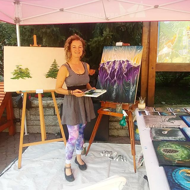 Bliss!! Painting til 4pm today in the middle of Whistler village! Come say hi. :)