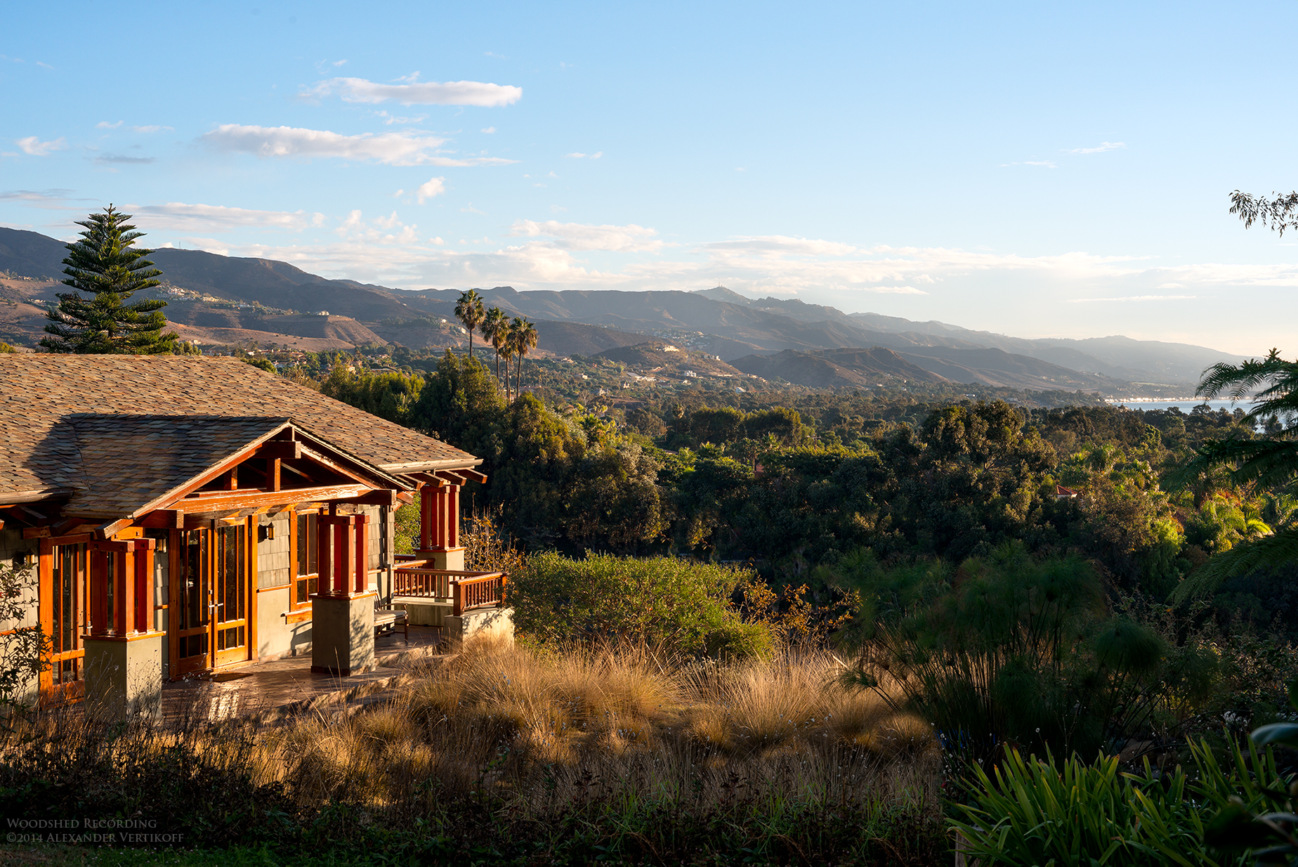 woodshed recording studio malibu ca with ocean view and surrounding meadow