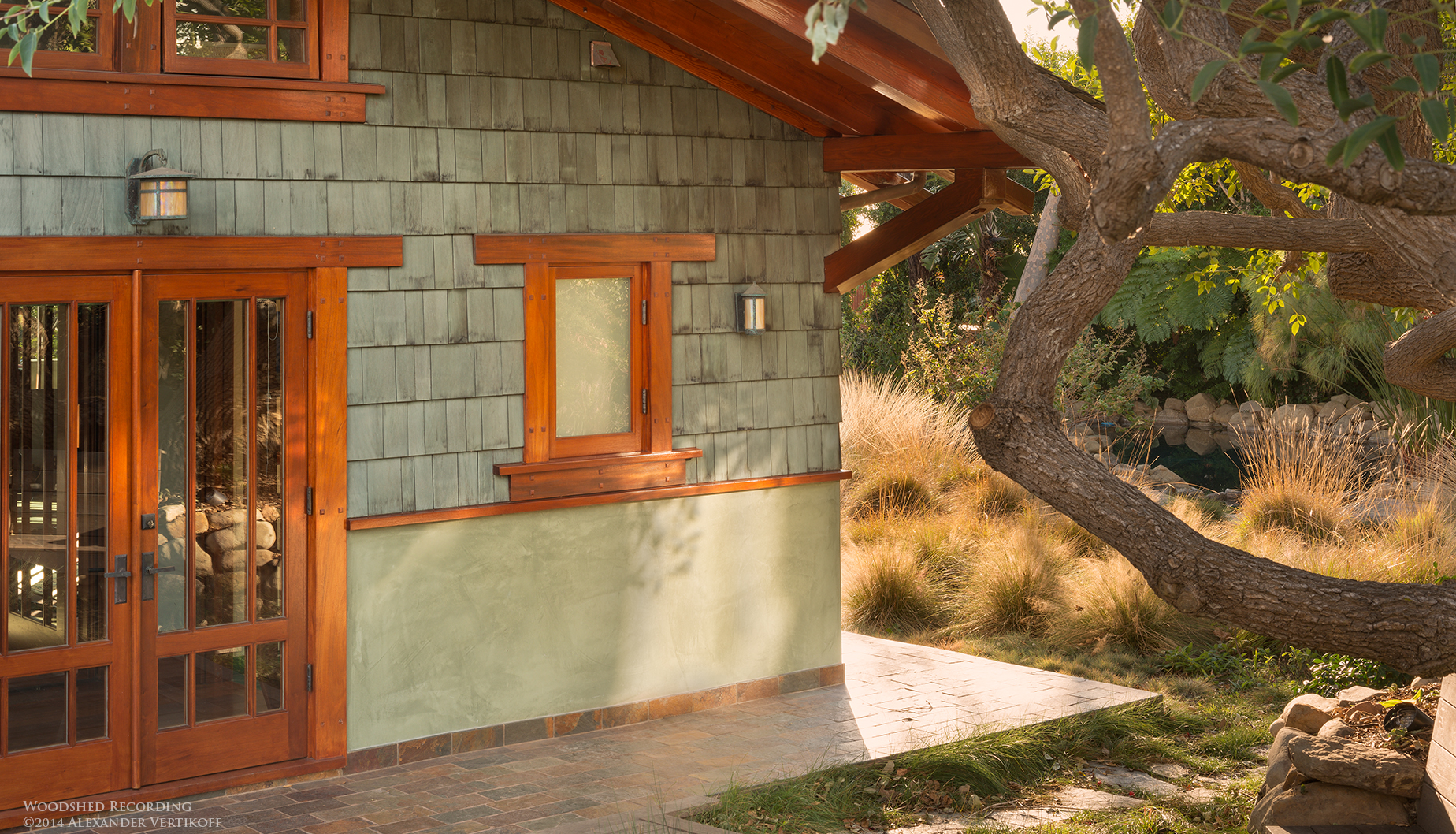 woodshed recording studio malibu ca office entrance and native meadow