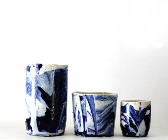 Handmade porcelain containers by  frabrique de Brunswick