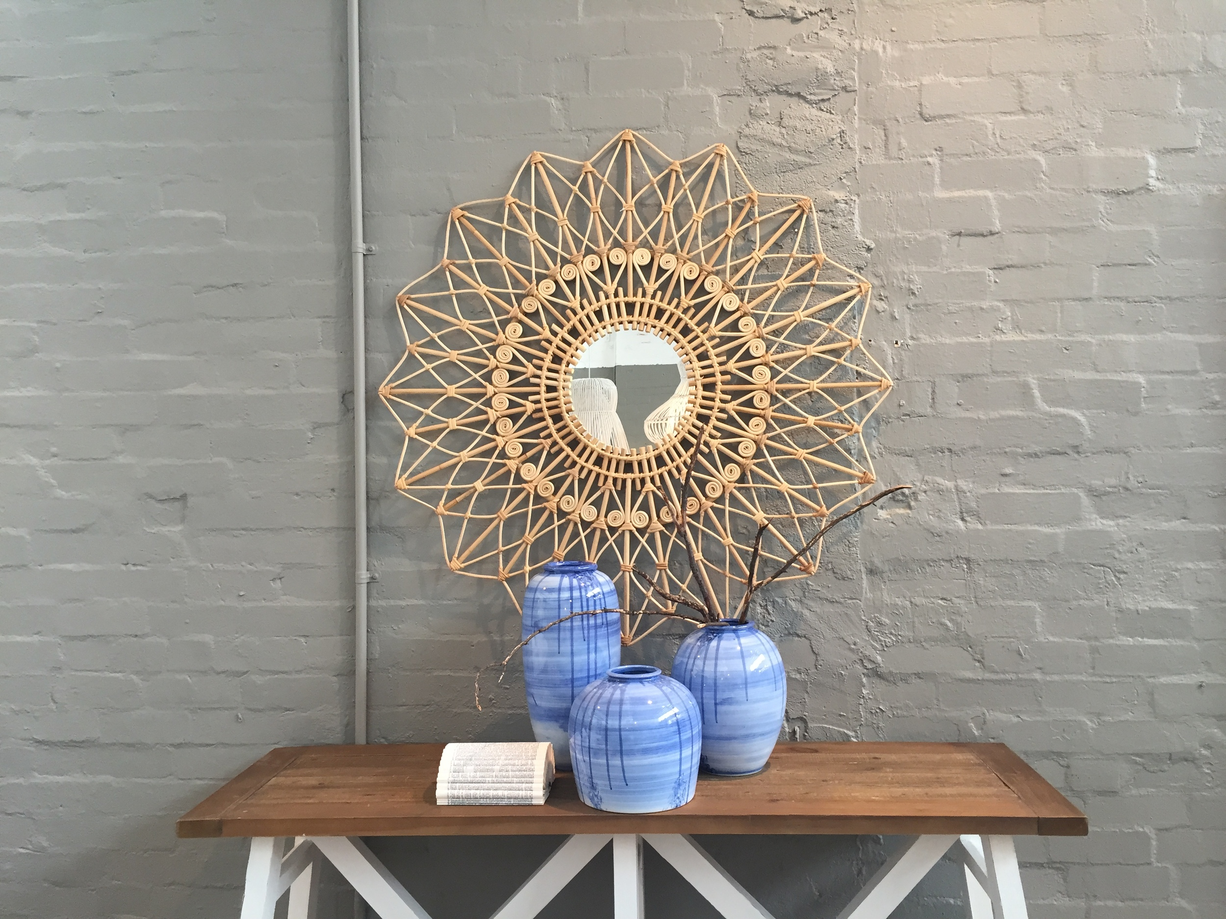 The prettiest  Peacock mirror  and  Blue swipe hand painted vases .