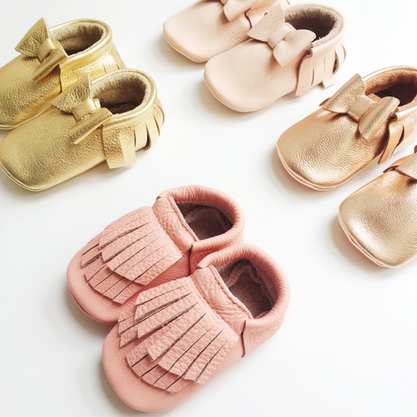 Leather hand made  moccasins  in sorbet shades and new metallics.