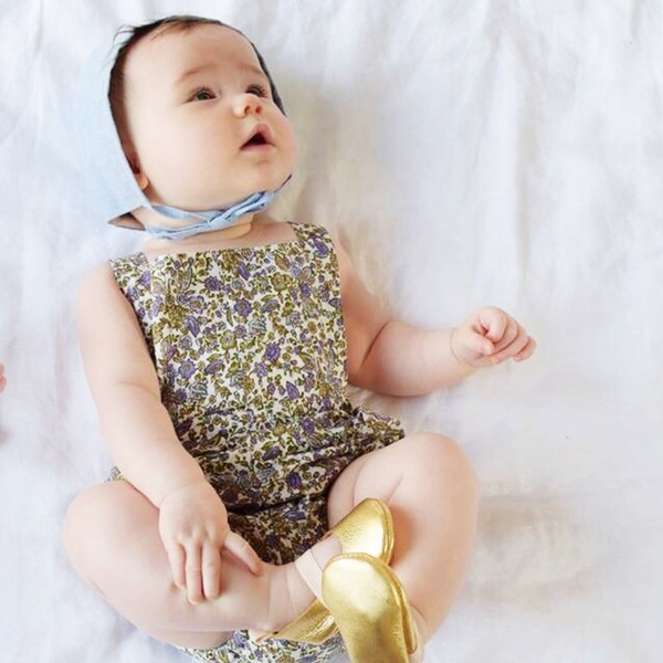 Lilac   linen romper  in a whimsical floral print and GOLD metallic  ballet moccs .