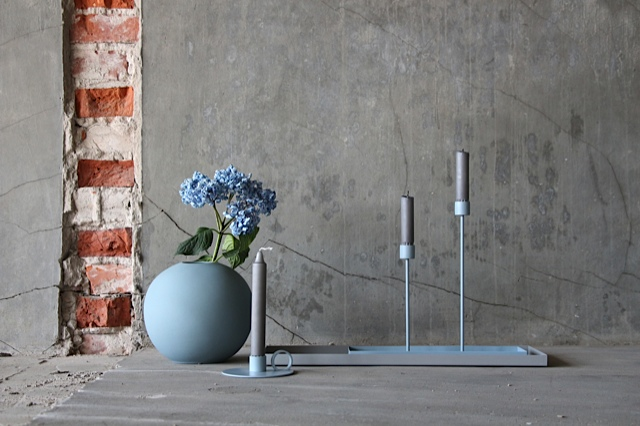 Ball vase, candlesticks and candle loop in dreamy dusty blue.
