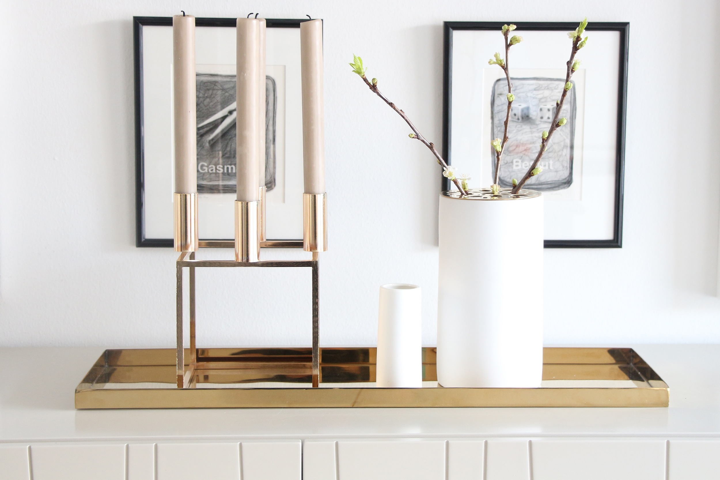 New tube vase with brass lid, small tube vase and luxe large brass tray.