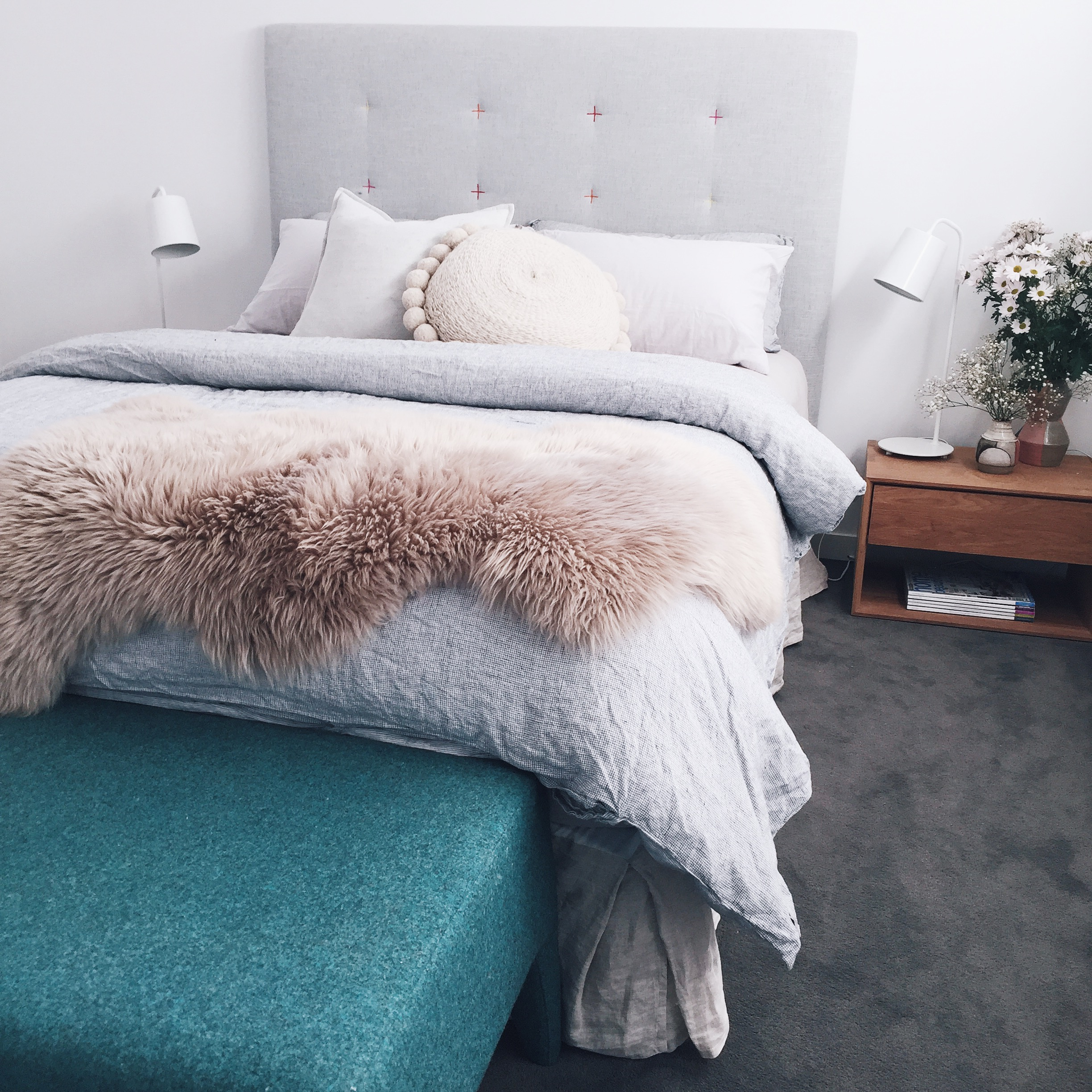 I loved the Vintage Washed Linen White Check duvet cover so much I just had to have it on my own bed at home! It's as soft and cosy as it looks!