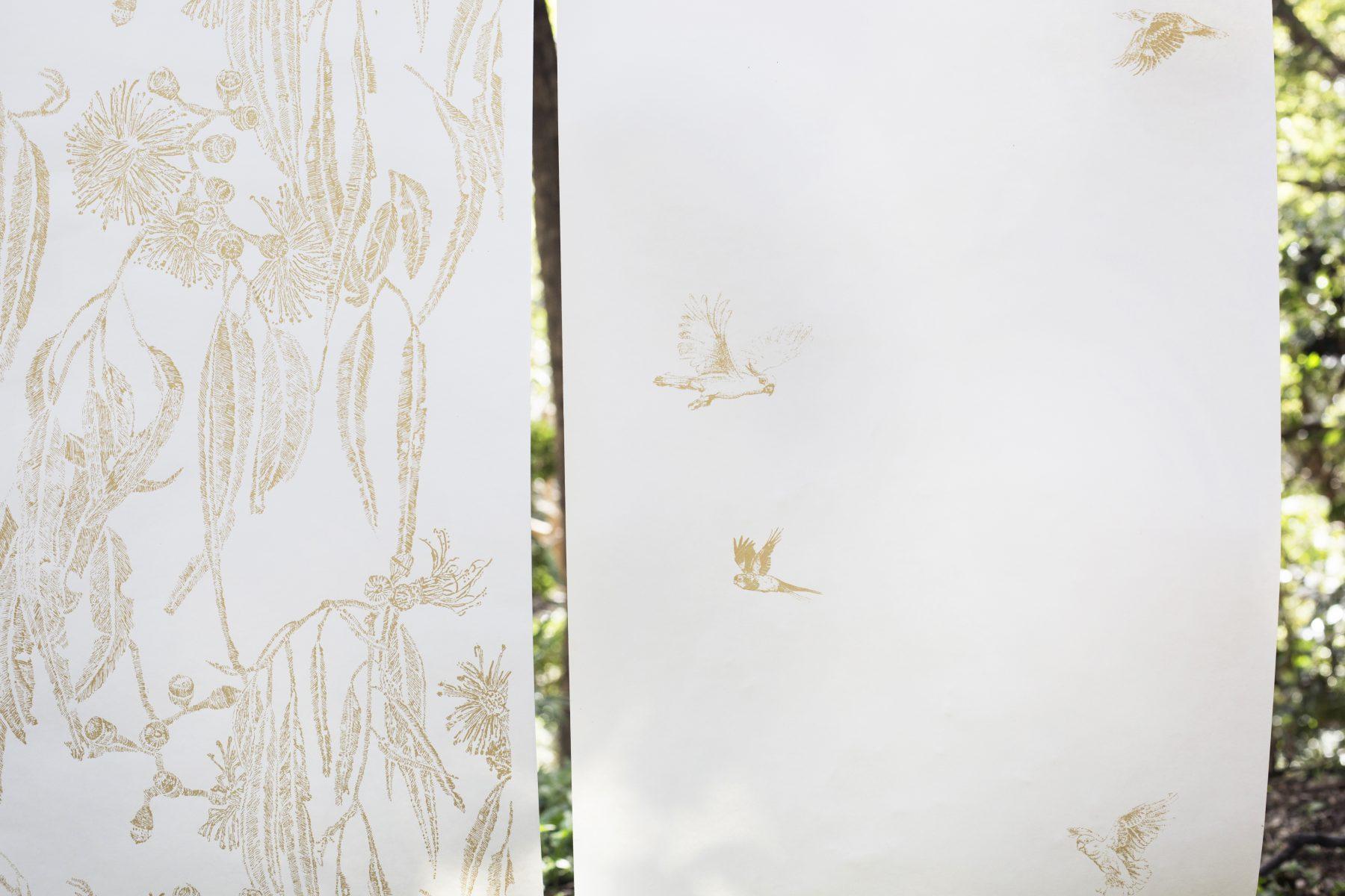 Shady tree and Teeny Tiny native birds gold star on raw white.