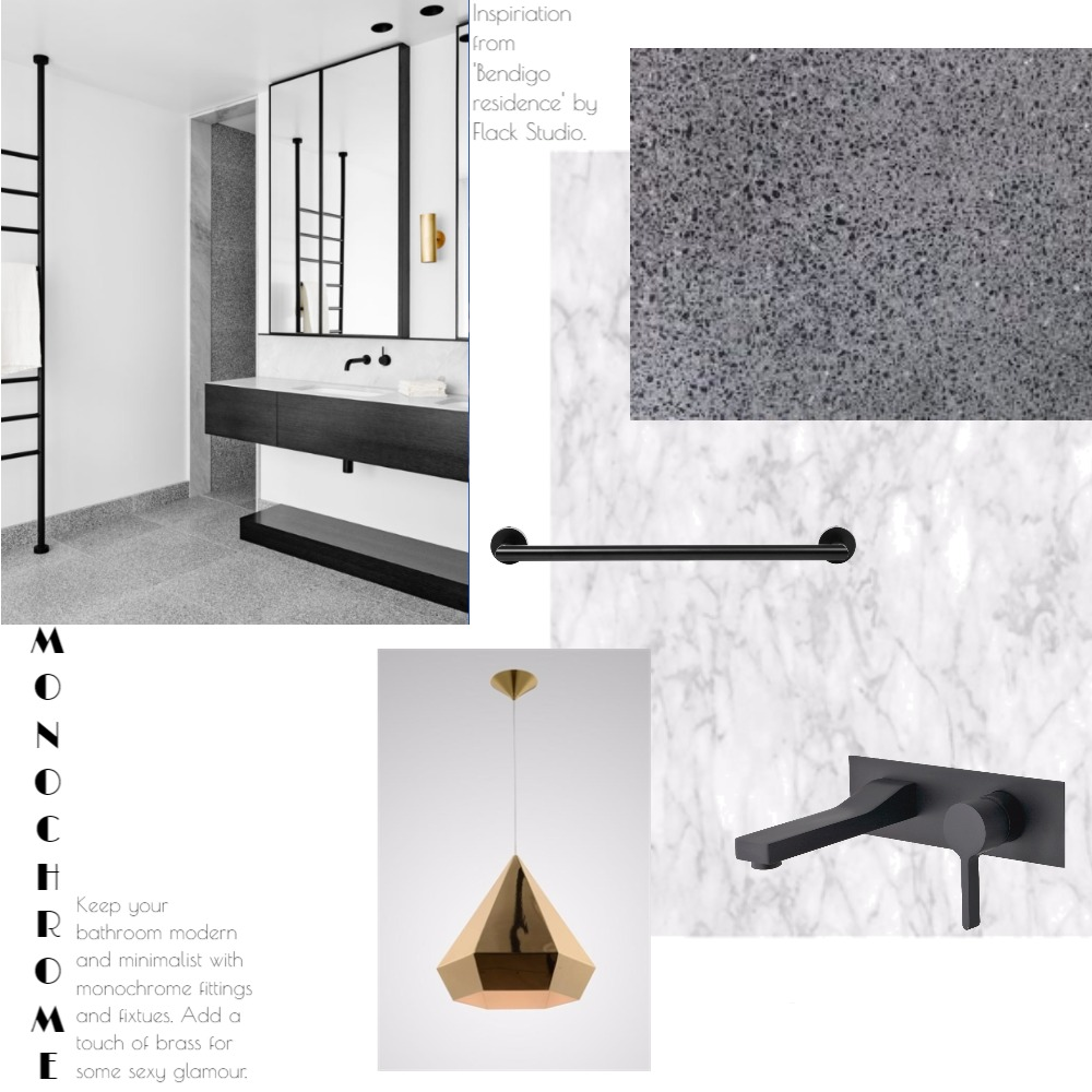 'Monochrome bathroom' moodboard created by  Dot and Pop