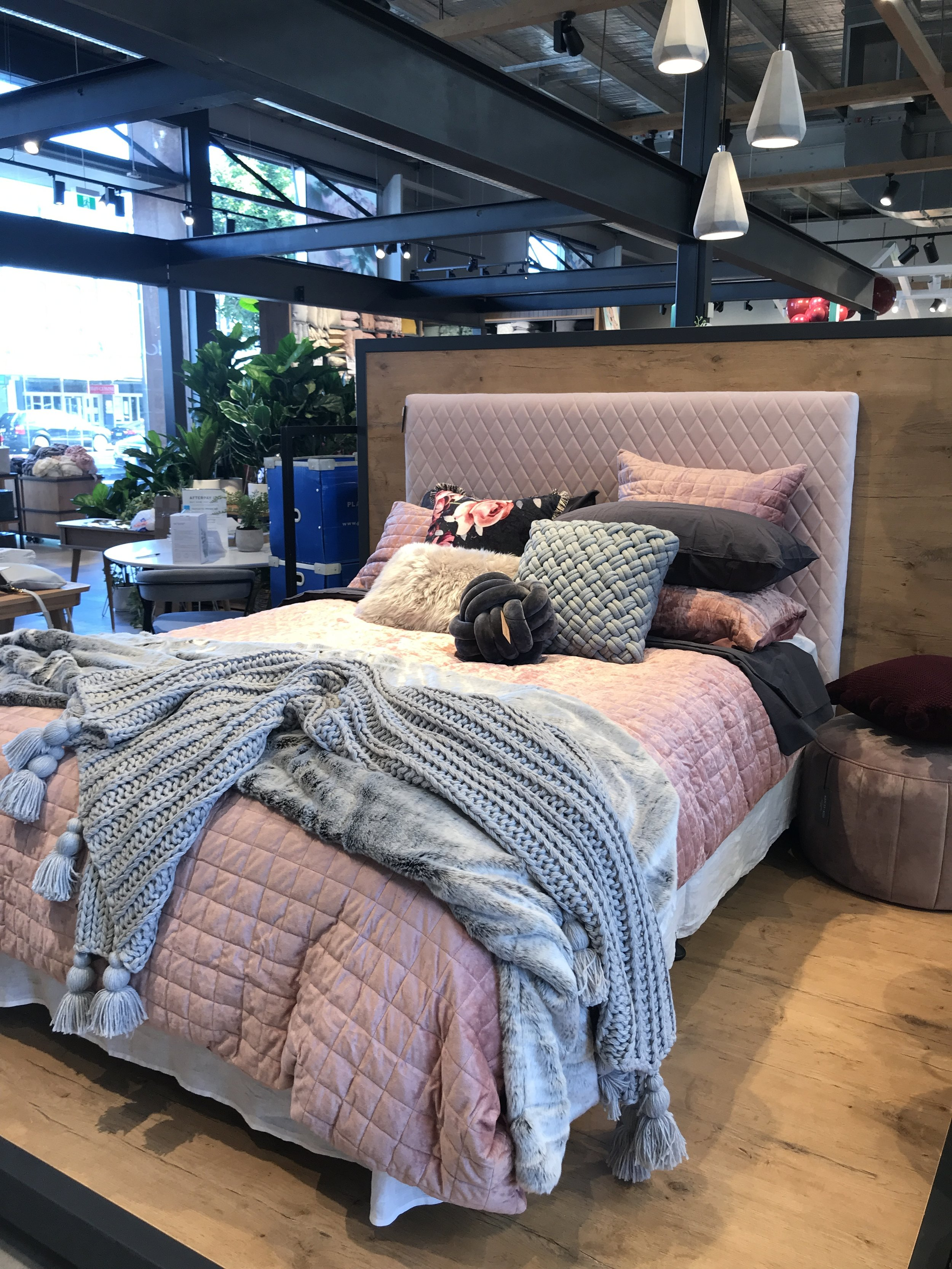 The beautiful cosy Autumn bed I styled at the Adairs styling session. The rich velvet is just delicious!